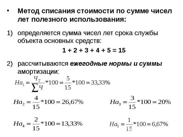 Метод списания стоимости по сумме чисел лет полезного использования: Метод списания стоимости по сумме чисел лет полезного использования: определяется сумма чисел лет срока службы объекта основных средств: 1 + 2 + 3 + 4 + 5 = 15 рассчитываются ежего…