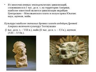 Из многочисленных земледельческих цивилизаций, сложившихся в I тыс. до н. э. на