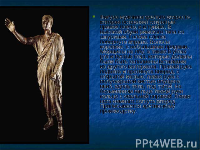 Фигура мужчины зрелого возраста, которая оставляет открытым правое плечо, и в тунике. В высокой обуви римского типа со шнурками. Голова слегка повернута вправо. Волосы короткие, с небольшими прядями. Морщины на лбу, а также в углах рта и пустых глаз…