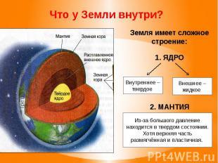Земля имеет сложное строение: 1. ЯДРО 2. МАНТИЯ