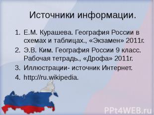 Источники информации. Е.М. Курашева. География России в схемах и таблицах., «Экз