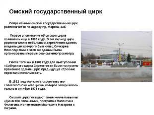 Современный омский государственный цирк располагается по адресу пр. Маркса, 43б.