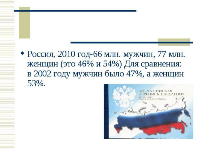 Россия, 2010 год-66 млн. мужчин, 77 млн. женщин (это 46% и 54%) Для сравнения: в 2002 году мужчин было 47%, а женщин 53%. Россия, 2010 год-66 млн. мужчин, 77 млн. женщин (это 46% и 54%) Для сравнения: в 2002 году мужчин было 47%, а женщин 53%.