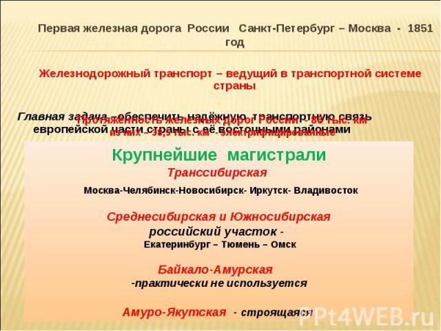 Первая железная дорога России Санкт-Петербург – Москва - 1851 год Первая железная дорога России Санкт-Петербург – Москва - 1851 год Железнодорожный транспорт – ведущий в транспортной системе страны . Главная задача –обеспечить надёжную транспортную …