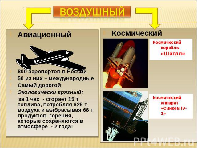 Авиационный Авиационный 800 аэропортов в России 50 из них – международные Самый дорогой Экологически грязный: за 1 час - сгорает 15 т топлива, потребляя 625 т воздуха и выбрасывая 66 т продуктов горения, которые сохраняются в атмосфере - 2 года!