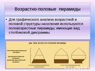 Возрастно-половые пирамиды Для графического анализа возрастной и половой структу