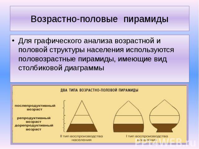 Возрастно-половые пирамиды Для графического анализа возрастной и половой структуры населения используются половозрастные пирамиды, имеющие вид столбиковой диаграммы