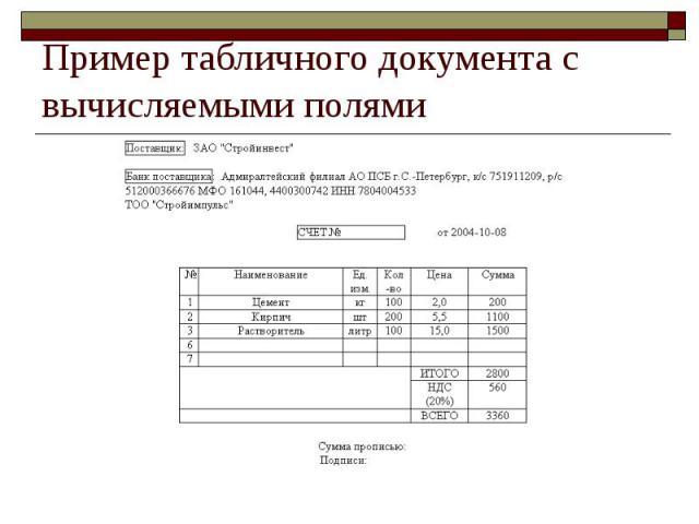 Пример табличного документа с вычисляемыми полями