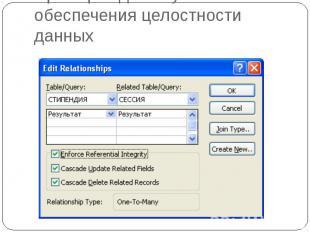 Пример задания условий обеспечения целостности данных