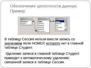 Обеспечение целостности данных. Пример