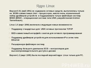 Ядро Linux Версия 0.01 (май 1991) не содержала сетевых средств, выполнялась толь