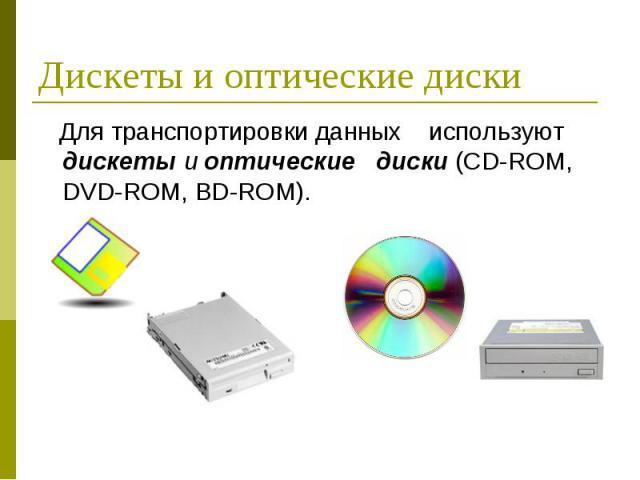 Для транспортировки данных используют дискеты и оптические диски (CD-ROM, DVD-ROM, BD-ROM). Для транспортировки данных используют дискеты и оптические диски (CD-ROM, DVD-ROM, BD-ROM).