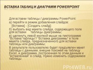 Для вставки таблицы / диаграммы PowerPoint: Для вставки таблицы / диаграммы Powe