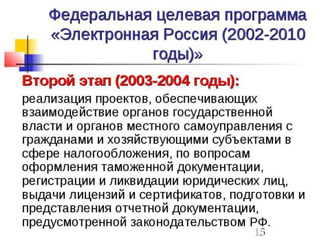 Федеральная целевая программа «Электронная Россия (2002-2010 годы)» Второй этап (2003-2004 годы): реализация проектов, обеспечивающих взаимодействие органов государственной власти и органов местного самоуправления с гражданами и хозяйствующими субъе…