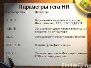 Параметры тега HR