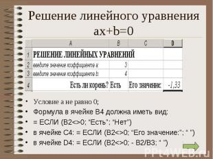 Условие а не равно 0; Условие а не равно 0; Формула в ячейке В4 должна иметь вид