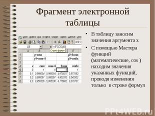 В таблицу заносим значения аргумента х В таблицу заносим значения аргумента х С