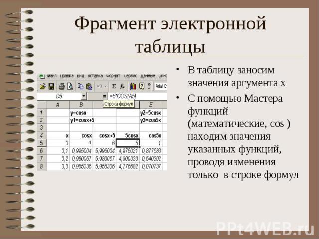 В таблицу заносим значения аргумента х В таблицу заносим значения аргумента х С помощью Мастера функций (математические, cos ) находим значения указанных функций, проводя изменения только в строке формул