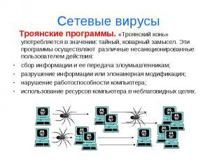 Сетевые вирусы Троянские программы. «Троянский конь» употребляется в значении: т