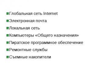Глобальная сеть Internet Глобальная сеть Internet Электронная почта Локальная се