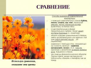 Используя сравнения, Используя сравнения, опишите эти цветы