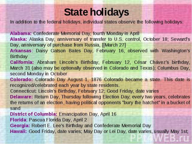 State holidays