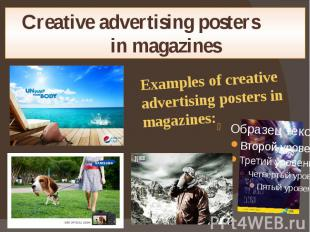 Creative advertising posters in magazines