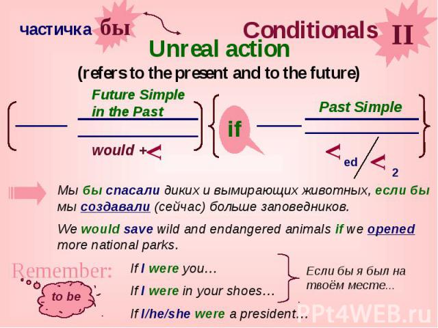 Unreal action (refers to the present and to the future)