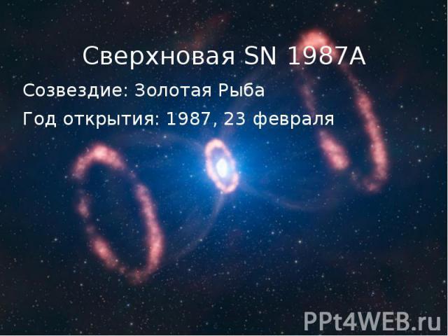Созвездие: Золотая Рыба Созвездие: Золотая Рыба Год открытия: 1987, 23 февраля