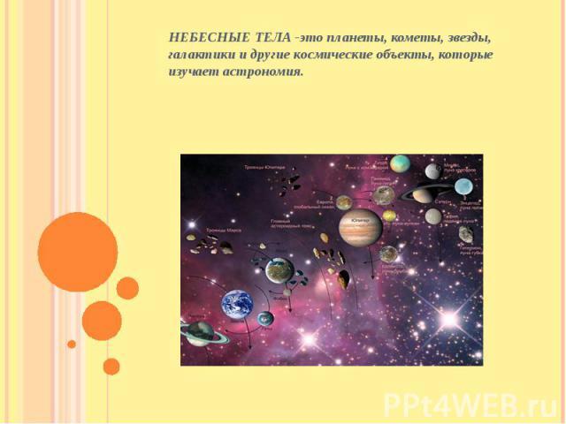 НЕБЕСНЫЕ ТЕЛА -это планеты, кометы, звезды, галактики и другие космические объекты, которые изучает астрономия. НЕБЕСНЫЕ ТЕЛА -это планеты, кометы, звезды, галактики и другие космические объекты, которые изучает астрономия.