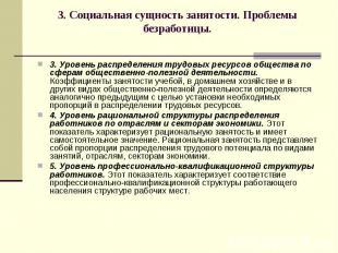 3. Социальная сущность занятости. Проблемы безработицы. 3. Уровень распределения