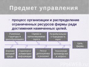 Предмет управления процесс организации и распределение ограниченных ресурсов фир