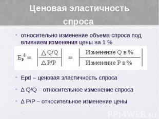 Ценовая эластичность спроса относительно изменение объема спроса под влиянием из