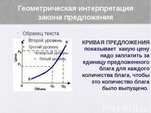 Геометрическая интерпретация закона предложения КРИВАЯ ПРЕДЛОЖЕНИЯ показывает ка