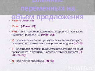 Влияние переменных на объем предложения Psub – (↑Psub- ↓S); Pcom – (↑Pcom- ↑S);