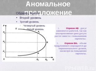 Аномальное предложение Отрезок АВ - досуг заменяется работой, так как альтернати