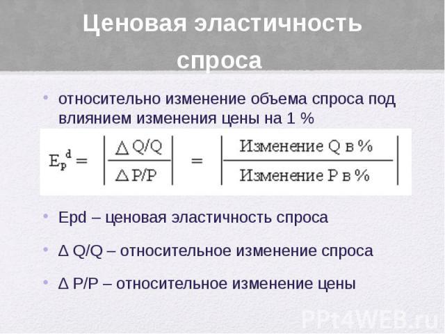 Ценовая эластичность спроса относительно изменение объема спроса под влиянием изменения цены на 1 % Еpd – ценовая эластичность спроса ∆ Q/Q – относительное изменение спроса ∆ P/P – относительное изменение цены