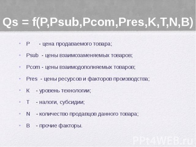 Qs = f(P,Psub,Pcom,Pres,K,T,N,В) Р - цена продаваемого товара; Psub - цены взаимозаменяемых товаров; Рcom - цены взаимодополняемых товаров; Pres - цены ресурсов и факторов производства; К - уровень технологии; Т - налоги, субсидии; N - количество пр…