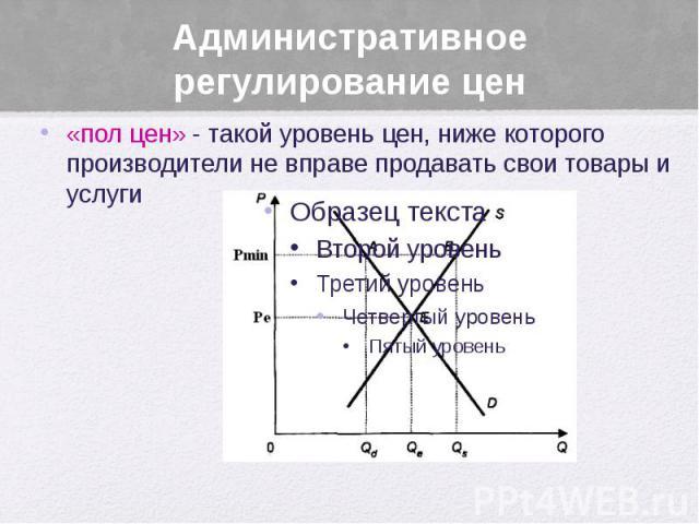 Административное регулирование цен «пол цен» - такой уровень цен, ниже которого производители не вправе продавать свои товары и услуги