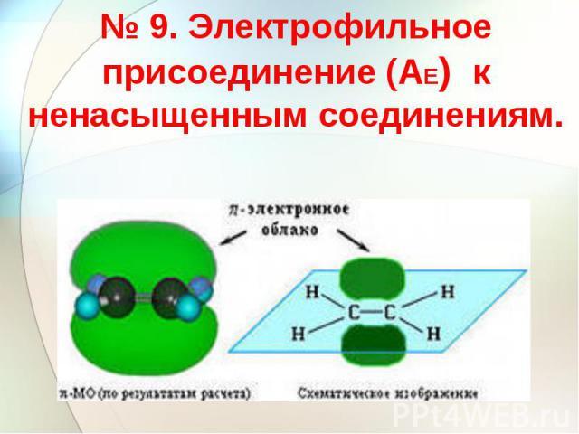 № 9. Электрофильное присоединение (АЕ) к ненасыщенным соединениям.