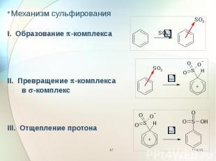 Механизм сульфирования Механизм сульфирования I. Образование p-комплекса II. Пре