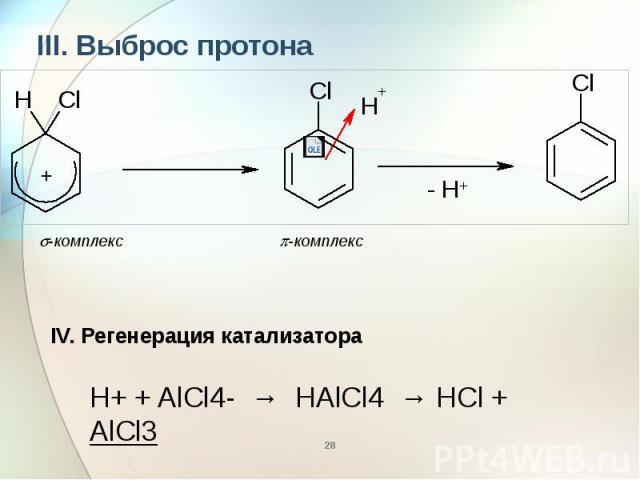 III. Выброс протона III. Выброс протона