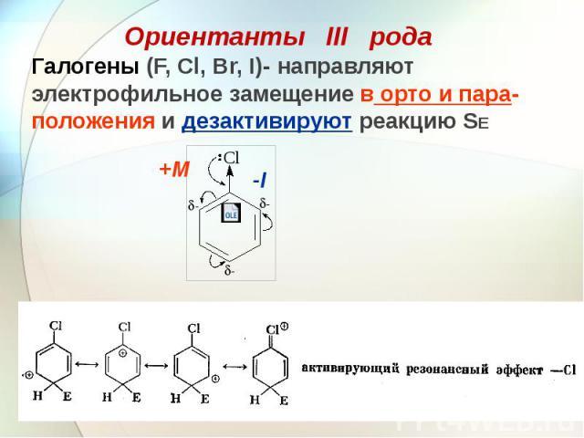 Галогены (F, Cl, Br, I)- направляют электрофильное замещение в орто и пара-положения и дезактивируют реакцию SE