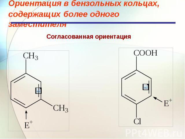 Ориентация в бензольных кольцах, содержащих более одного заместителя