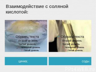 Взаимодействие с соляной кислотой: цинка;