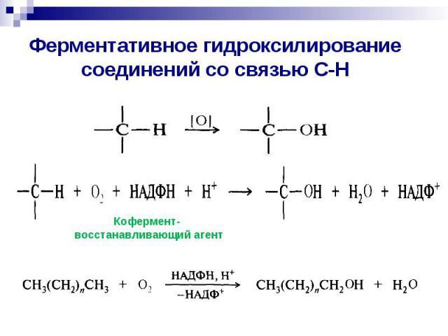 Ферментативное гидроксилирование соединений со связью С-Н