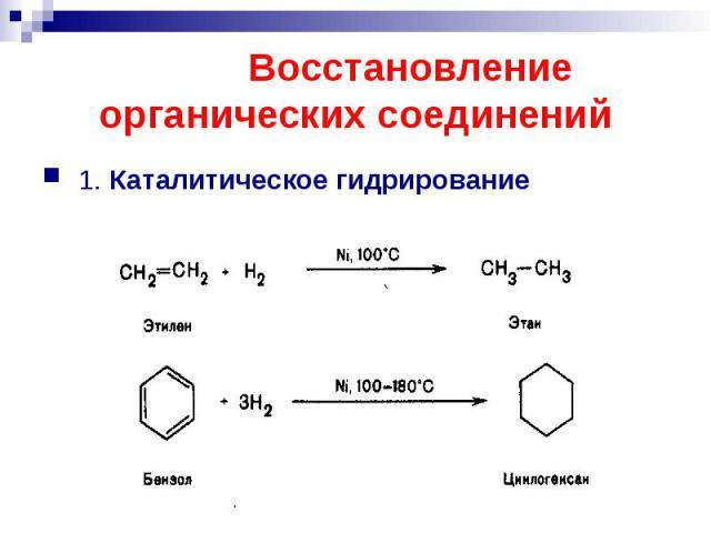 Восстановление органических соединений 1. Каталитическое гидрирование