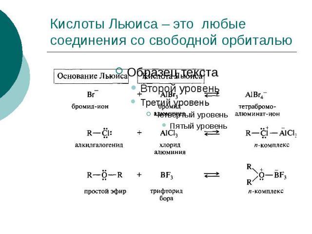 Кислоты Льюиса – это любые соединения со свободной орбиталью