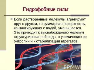 Гидрофобные силы Если растворенные молекулы агрегируют друг с другом, то суммарн