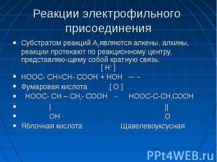 Реакции электрофильного присоединения Субстратом реакций AE являются алкены, алк